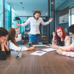 Office worker building up aggression levels